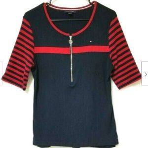Tommy Hilfiger Top Womens Logo  Navy Red Zip